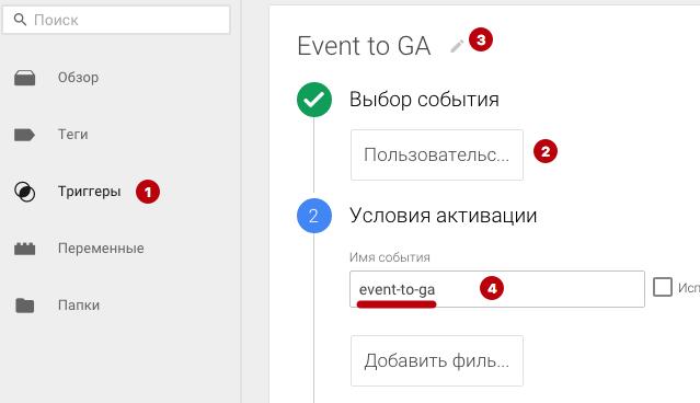 """Создаем пользовательское событие с произвольным условием активации. К примеру, """"event-to-ga""""."""