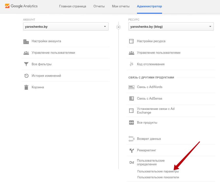 Здесь находяться пользовательские параметры в Google Analytics